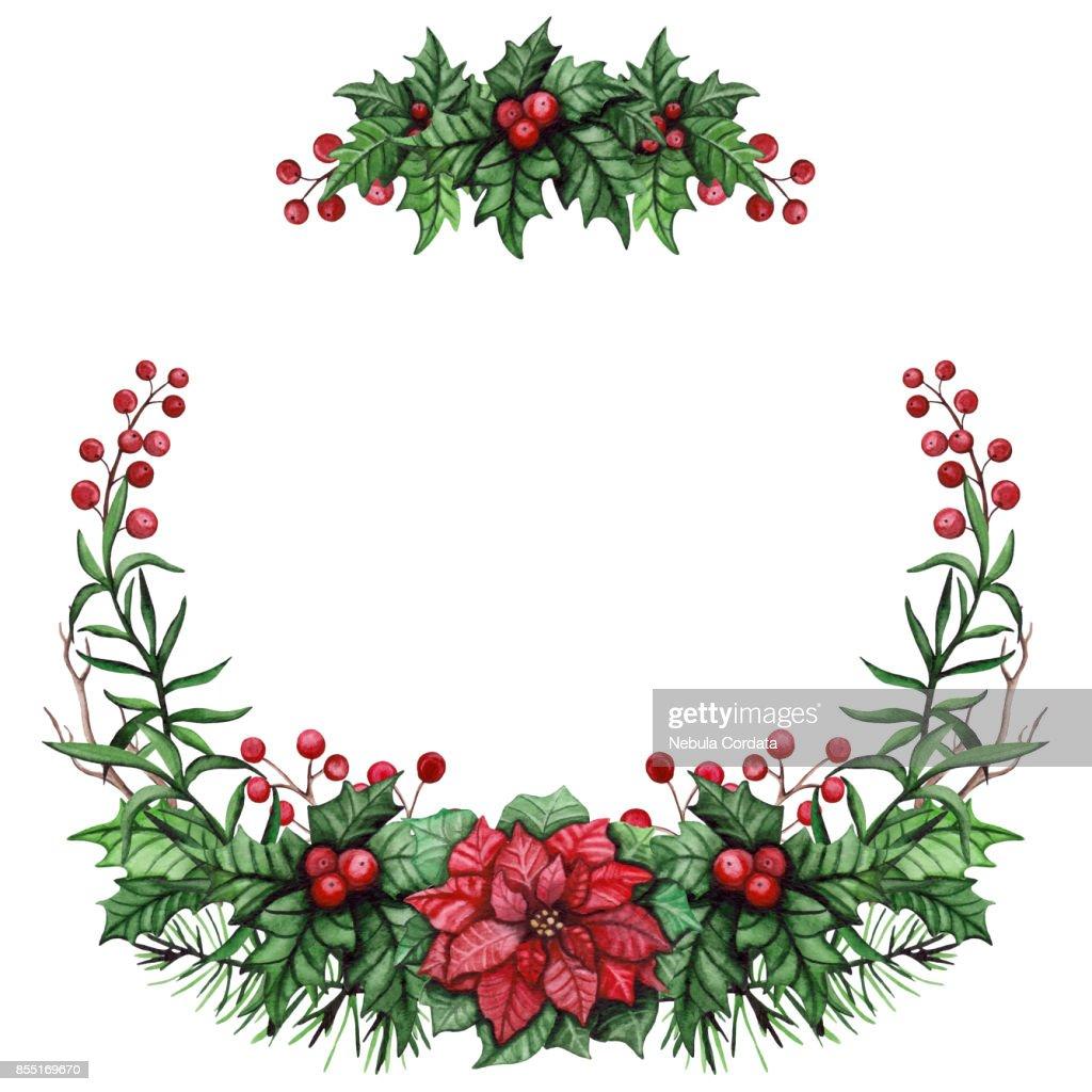 Kranz Mit Aquarell Rote Weihnachtsstern Holly Und Grünen Blättern ...