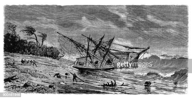 wreck of sailing ship maria luisa stranded near island of carabao, philippines - bad luck stock illustrations, clip art, cartoons, & icons