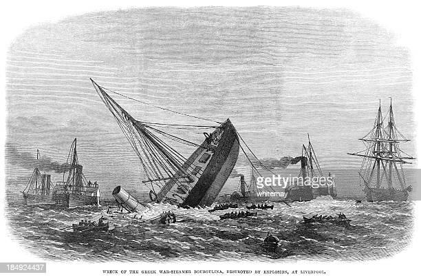 Destroços do grego steamship Bouboulina (1867 gravação ILN
