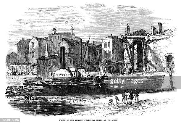 Wreck of the steamboat 'Metis' at Woolwich (1867 engraving ILN)