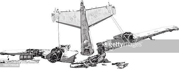 illustrations, cliparts, dessins animés et icônes de wreckage d'un accident d'avion - catastrophe aérienne
