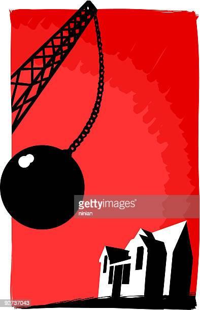 wrecking ball demolishing house - demolished stock illustrations
