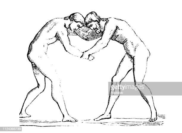 wrestling greek athletes - olympic games - antiquity - racewalking stock illustrations, clip art, cartoons, & icons