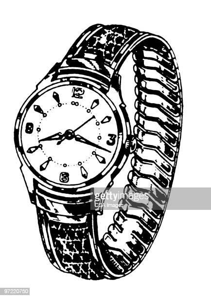 wrist watch - minute hand stock illustrations