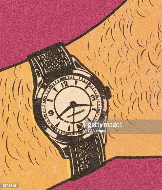 wristwatch - minute hand stock illustrations
