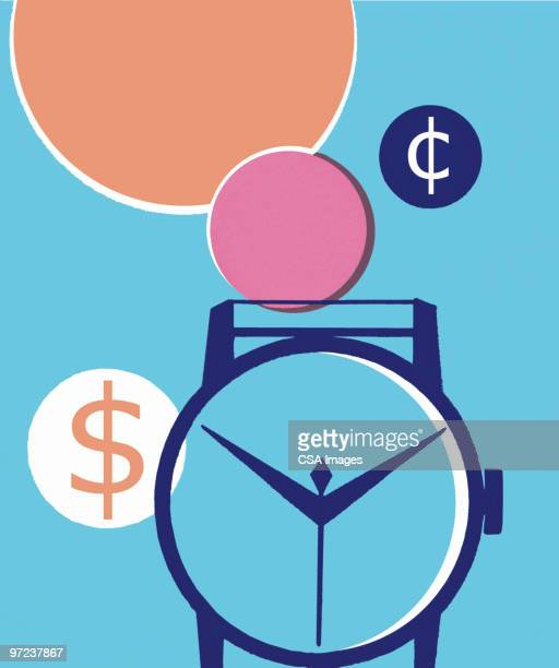 wristwatch with american money symbols - minute hand stock illustrations