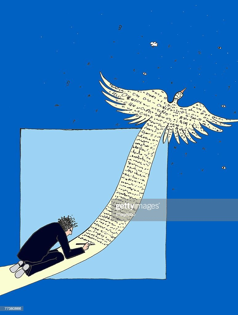 writer's imagination taking flight : stock illustration