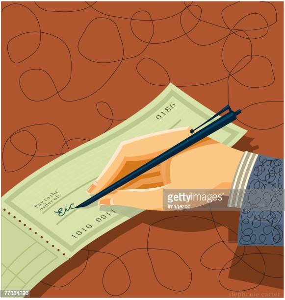 writing a check - spending money stock illustrations, clip art, cartoons, & icons