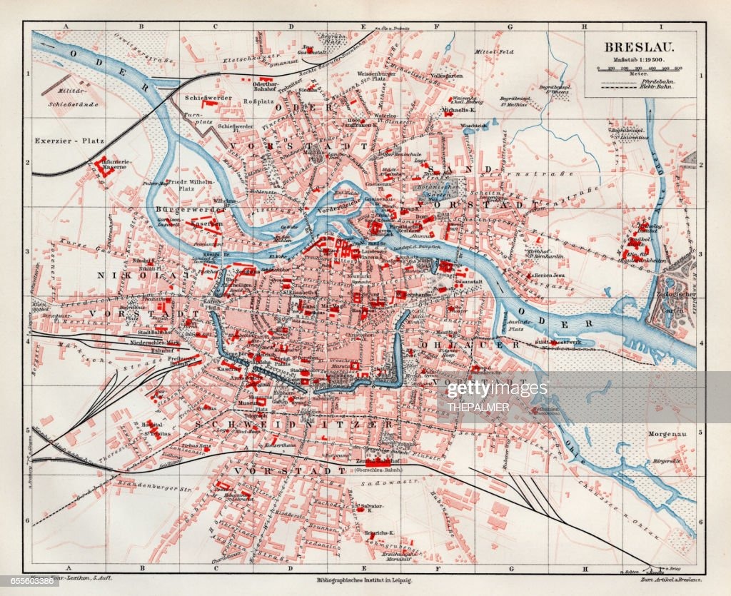 Wroclaw City Map 1895 Stock Illustration Getty Images