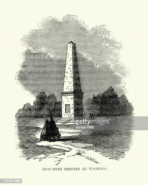 ilustrações, clipart, desenhos animados e ícones de o monumento de wyoming é um monumento americano da guerra revolucionária - american revolution