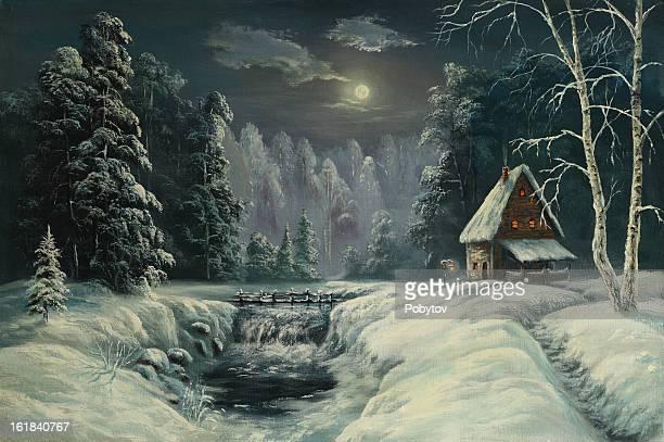 ilustraciones, imágenes clip art, dibujos animados e iconos de stock de la noche de navidad-la luz de la luna - ventana