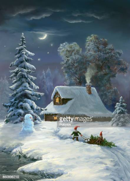 xmas night, oil painting - ethereal stock illustrations, clip art, cartoons, & icons
