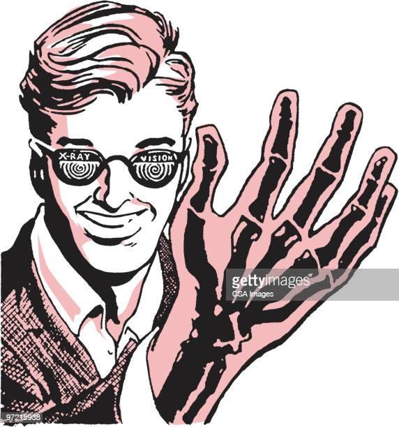 ilustraciones, imágenes clip art, dibujos animados e iconos de stock de x-ray hand - inocentada