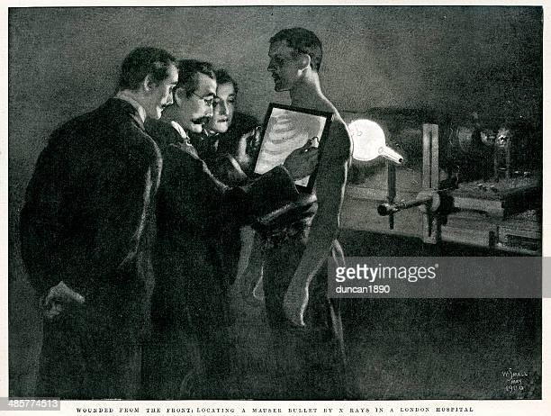 x-ray's of a wounded solider - history stock illustrations