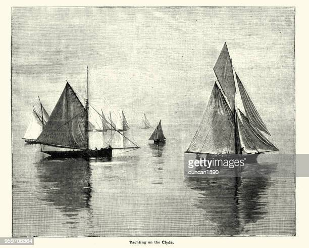 yachting on the river clyde, 19th century - clyde river stock illustrations, clip art, cartoons, & icons