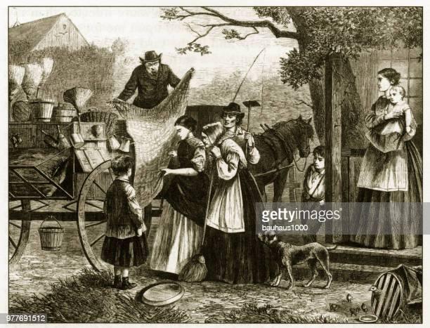 Yankee Peddler Selling His Goods Engraving, 1869