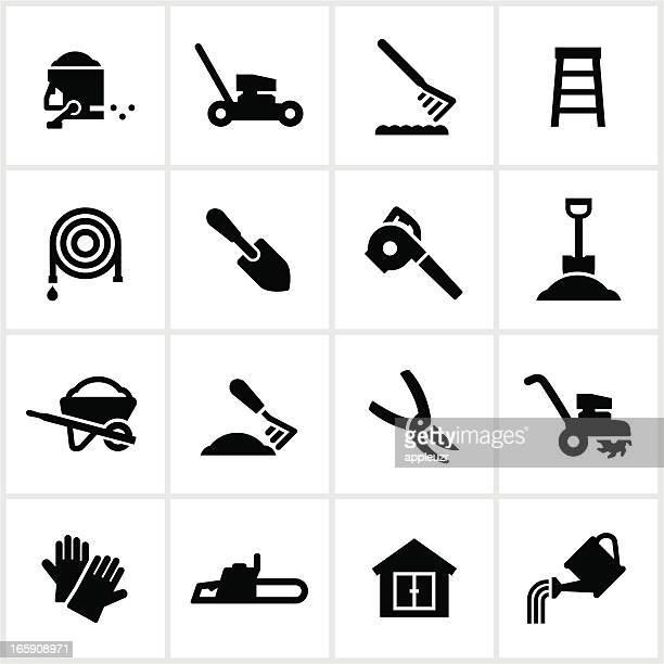 yard equipment icons - leaf blower stock illustrations