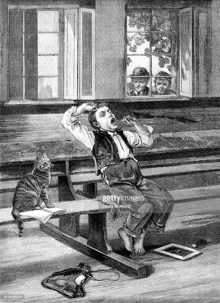 Yawning boy in a schoolroom : stock illustration