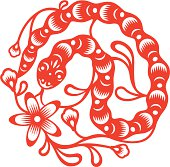 Year of Snake, oriental paper cut style