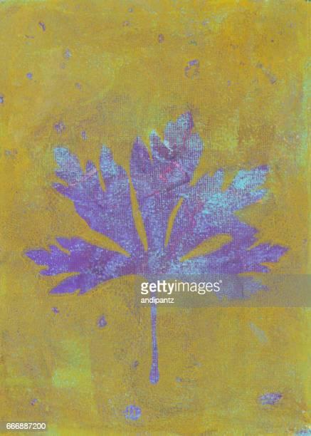 黄色とラベンダーの紫色の紙に印刷された葉