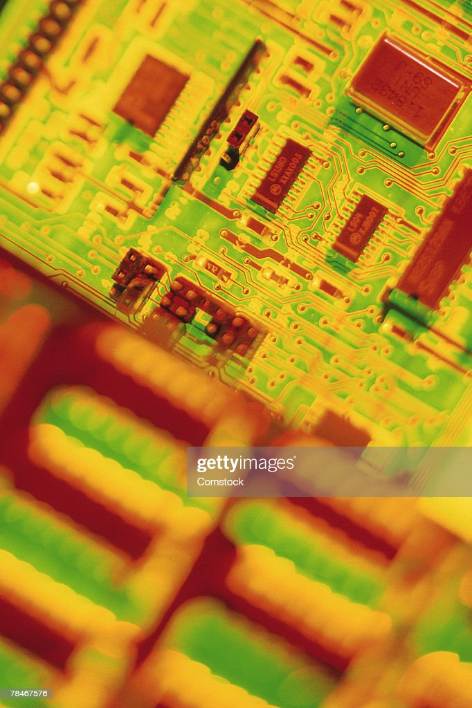 Yellow and red circuit board : Stock Illustration