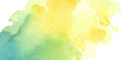 watercolor hand painted yellow turquoise watercolor