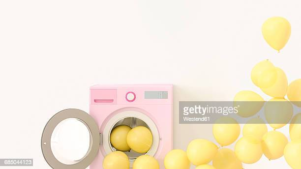 yellow balloons emerging from washing machine, 3d rendering - coloured background stock illustrations
