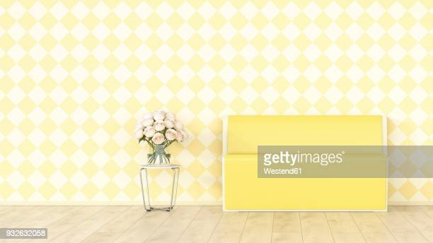 Yellow bench and bunch of flowers in front of checkered pattern wallpaper, 3d rendering