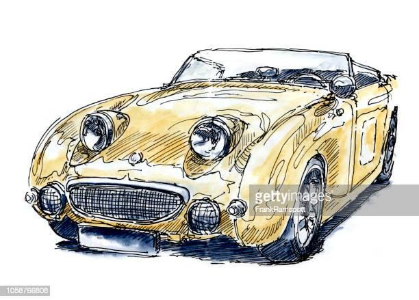 Britische Oldtimer Tinte Yellow Zeichnung und Aquarell