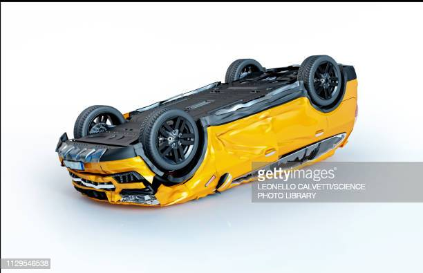 yellow car crashed upside down, illustration - graphic car accidents stock illustrations