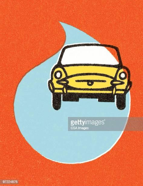 yellow car in the rain - rain stock illustrations