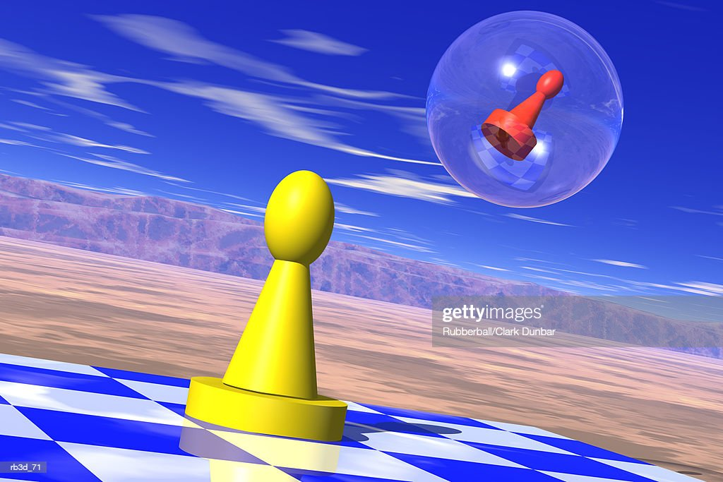 yellow game piece stands on a chess board while red piece floats away in a bubble : Stockillustraties