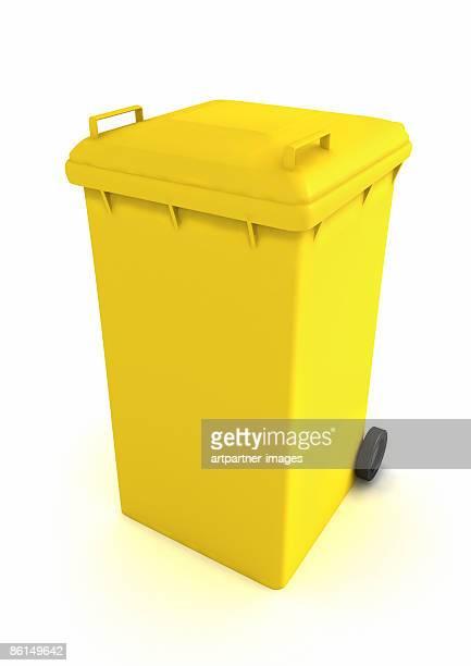 illustrations, cliparts, dessins animés et icônes de yellow garbage can or dustbin with closed lid - poubelle