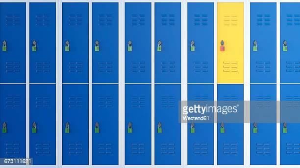 yellow locker between rows of blue lockers, 3d rendering - lock stock illustrations