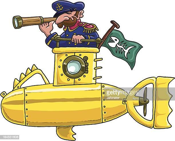 yellow submarine - boat captain stock illustrations, clip art, cartoons, & icons
