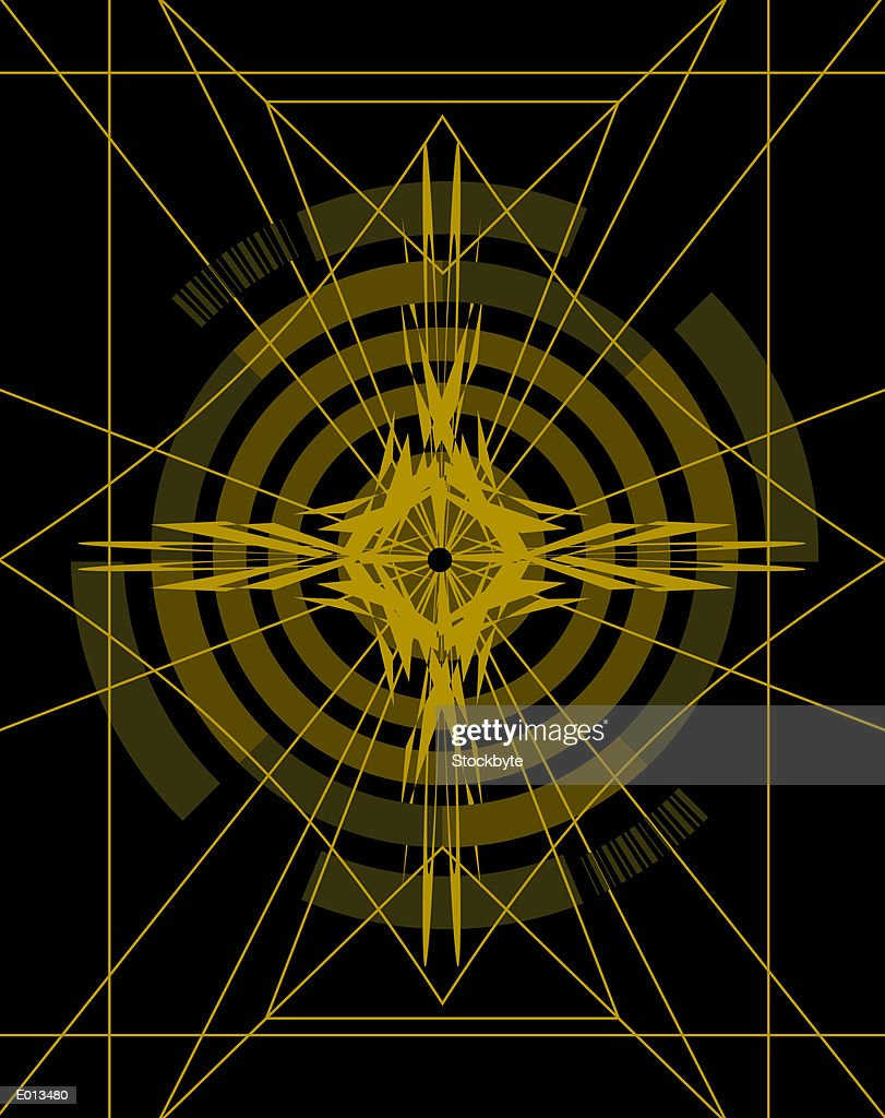 Yellow target and star over black background : Stock Illustration