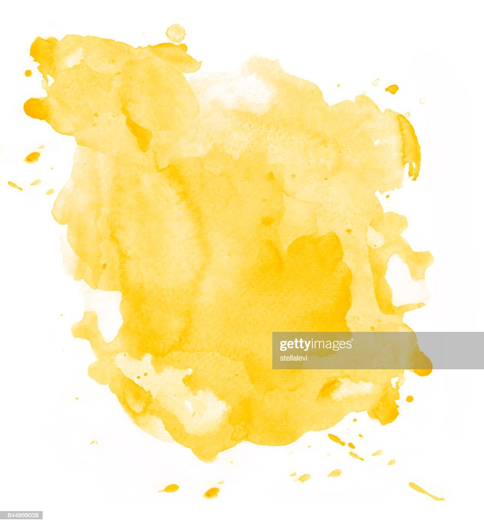 Yellow watercolor background isolated : stock illustration