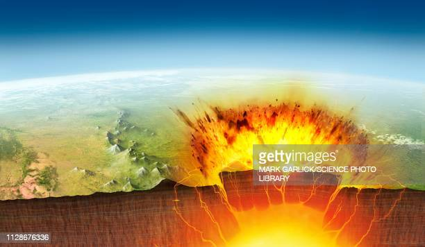 yellowstone eruption, illustration - cutaway drawing stock illustrations