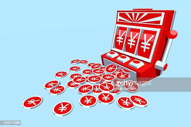 yen coins falling from slot machine - national flag stock illustrations