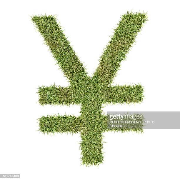 Yen or Yuan symbol made from grass