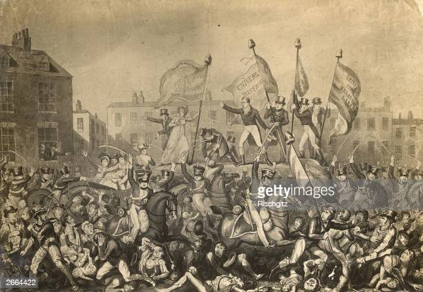 Yeomantry charging crowds during bread riots in Manchester The event became known as the Peterloo Massacre when troops were ordered to disperse the...
