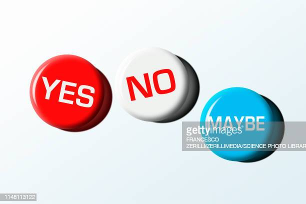 yes, no and maybe badges, illustration - politics illustration stock illustrations