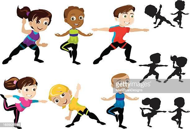 yoga kids - yoga instructor stock illustrations, clip art, cartoons, & icons