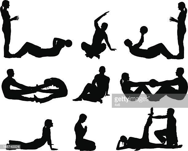Yoga pilates workout men and women