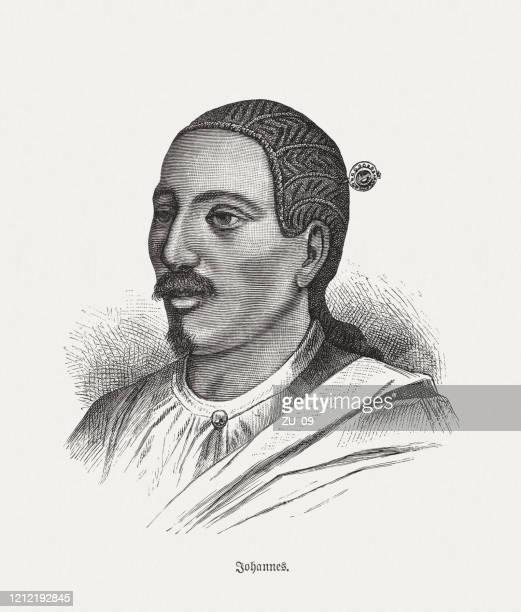 ilustrações, clipart, desenhos animados e ícones de yohannes iv (1837-1889), governante etíope, gravura em madeira, publicado em 1893 - ethiopia
