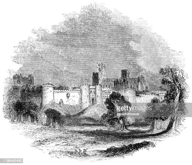 York Castle and York Minster in York, England - 15th Century