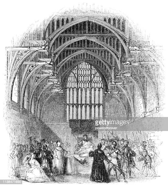 yorkists confront king henry vi at westminster hall in london, england - works of william shakespeare - ellis island stock illustrations, clip art, cartoons, & icons