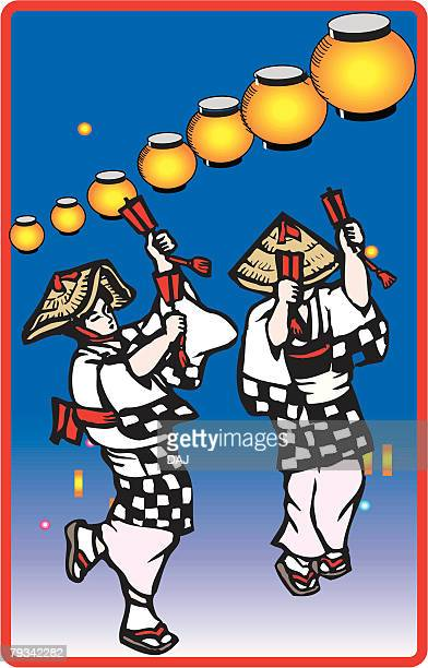 yosakoinaruko dance, woodcut, kouchi prefecture, japan - shikoku stock illustrations, clip art, cartoons, & icons