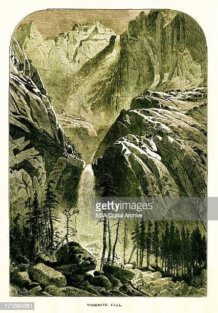 ヨセミテ滝、カリフォルニア/歴史的なアメリカのイラスト - 内陸部の岩柱点のイラスト素材/クリップアート素材/マンガ素材/アイコン素材