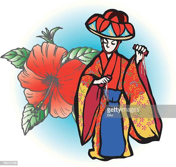 yotsutake dance, woodcut, okinawa prefecture, japan - okinawa prefecture stock illustrations, clip art, cartoons, & icons